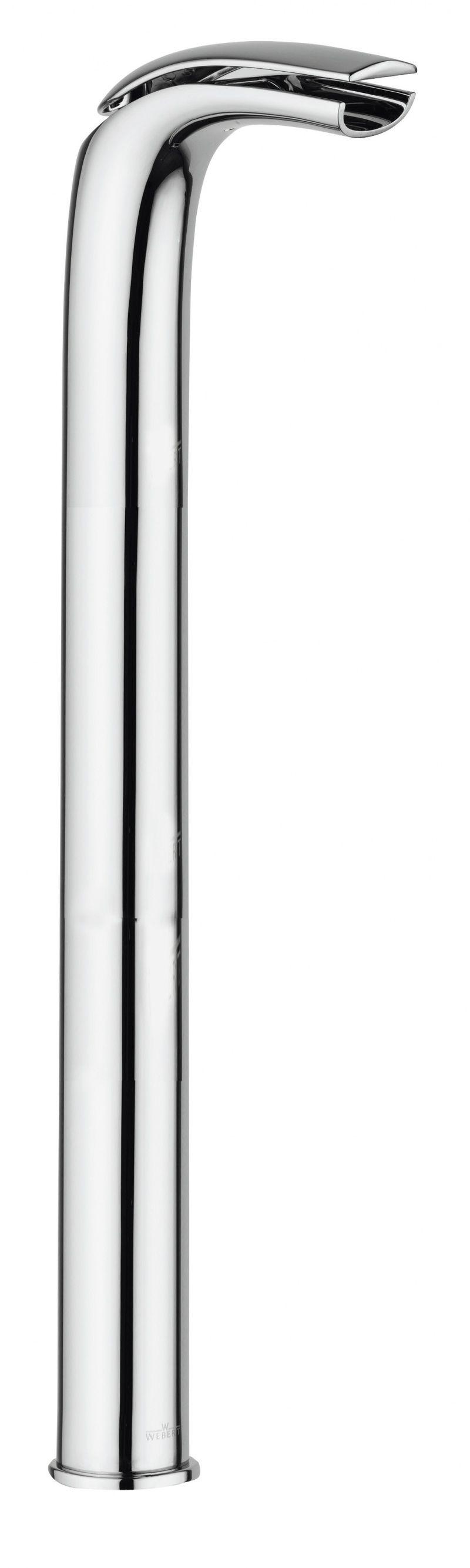 картинка Смеситель напольный Webert Aria AI832301 Белый глянцевый с ручкой хром